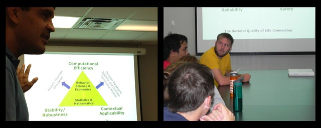 Left Photo: Dr.Bhat giving slide presentation; Right photo: students at table watching presentation