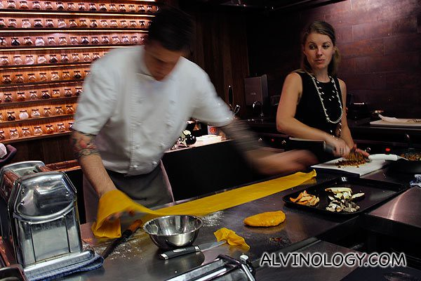 Rolling out the pasta skin