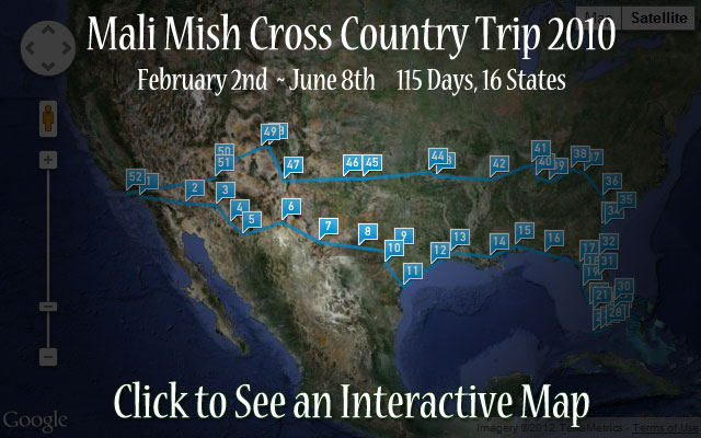 2010 Mali Mish Cross Country Road Trip Map