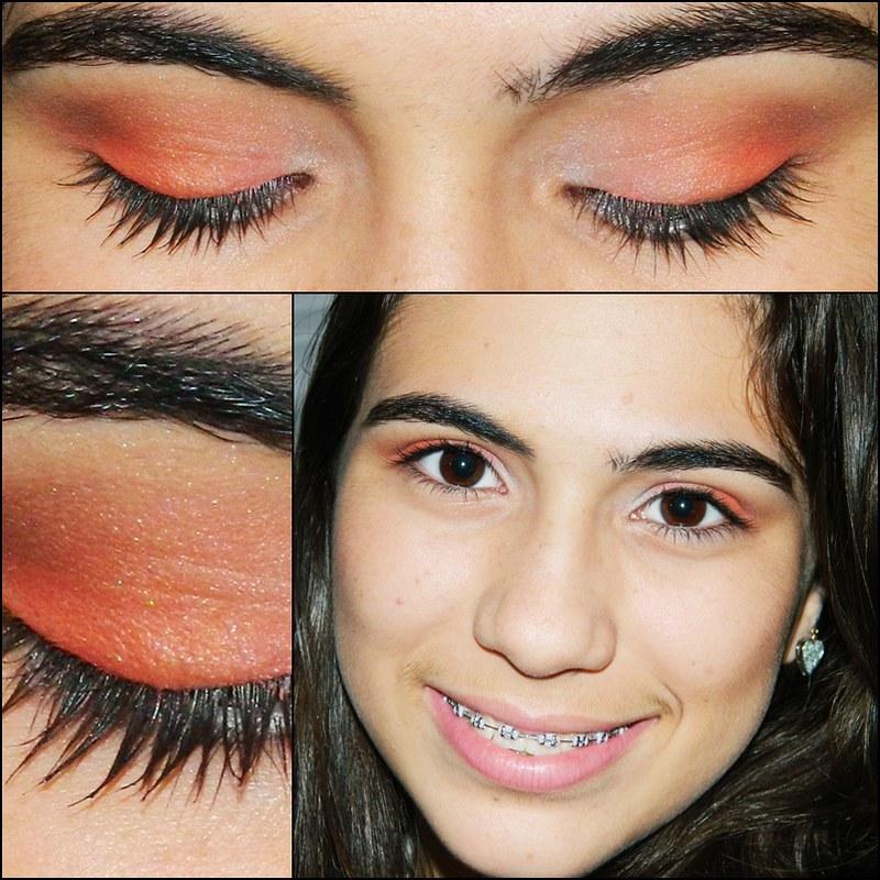 juliana leite make up maquiagem dia 3 laranja coral branco degradê com marrom