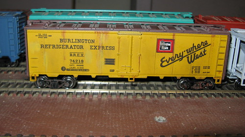 A 40 foot ice cooled refrigerator car from the Chicago, Burlington & Quincy Railroad in H.O Scale. by Eddie from Chicago