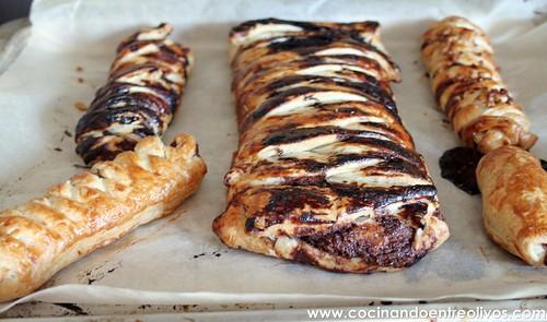 Trenzas hojaldradas de chocolate y plátano (12)