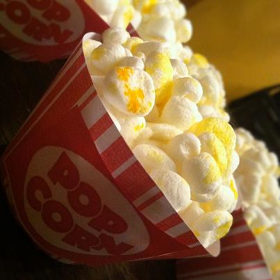 """popcorn"" cupcakes for Vali's 'outdoor cinema' party"