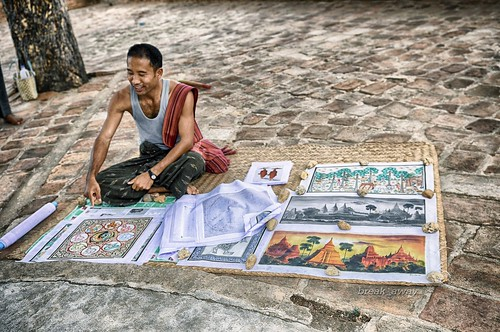 An artist in Bagan-Myanmar