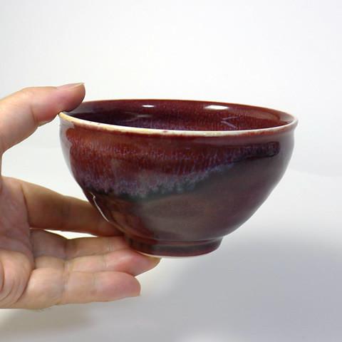 砥部焼 中田窯「辰砂茶碗」