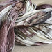 silk ponge scarves dyed & printed with leaves