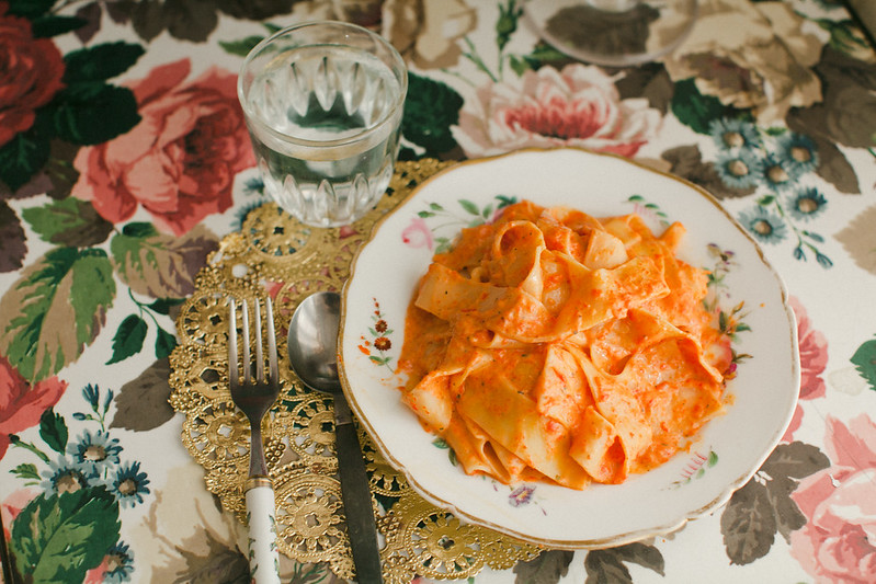 roasted red pepper pappardelle.