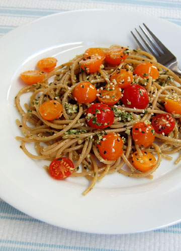 Spaghetti with Walnut Pesto and Cherry Tomatoes