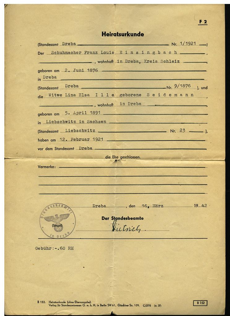 Heiratsurkunde, Franz Louis und Lina Elsa Einsingbach, Dreba 12. Februar 1921
