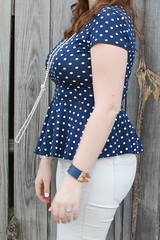 Polkadot peplum outfit: polkadot peplum top, Levi's Made and Crafted white jeans, Miss Trish for Target pearl and coral sandals, knotted pearls