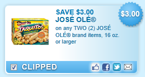 Jose Ole Brand Items, 16 Oz. Or Larger Coupon