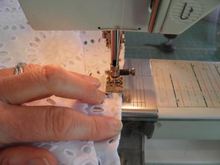 Stitching eyelet fabric