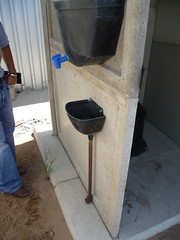 Hand-washin basin placed at the pre-fab toilet