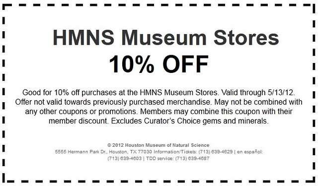 Save 10% when you buy jewelry for Mother's Day at the HMNS Museum Store