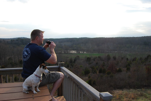 Birdwatching from the deck of Cabin 14 at James River State Park