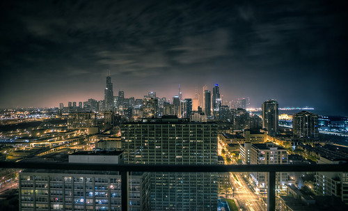 hazy South Loop Chicago cityscape... darker