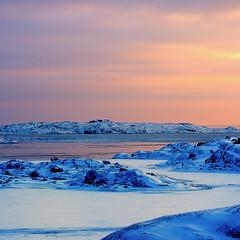 [フリー画像素材] 自然風景, 朝焼け・夕焼け, 海, 雪 ID:201204302000