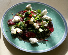Puy lentils with beetroot and goats cheese