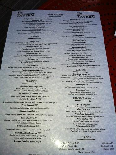 tavern nantucket menu