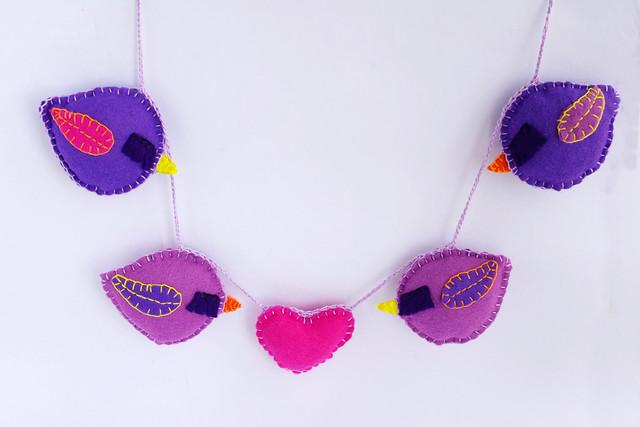 Bird felt garland -felt heart garland - guirlande feutrine by CocoFlower