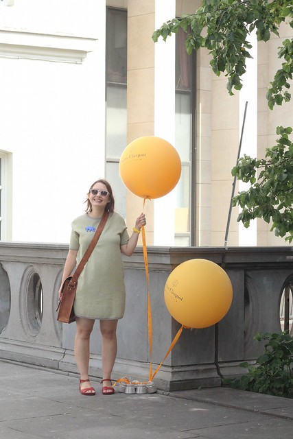 posing with balloons