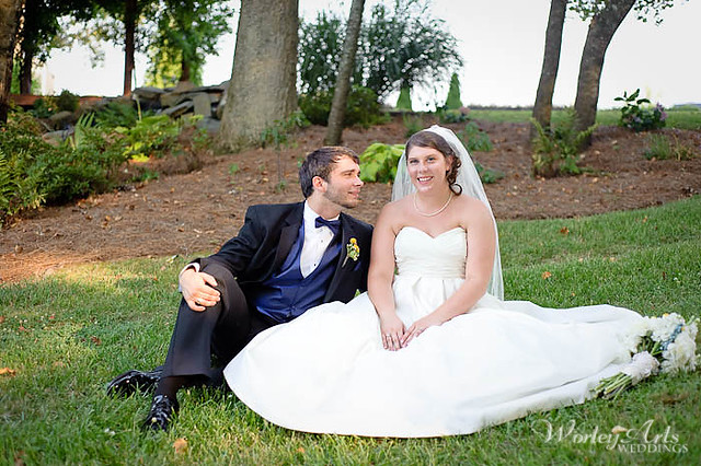 Wedding couple in grass