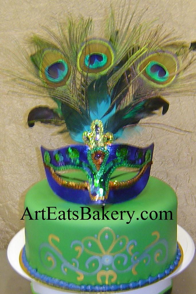 Mardi Gras Custom Green Gold And Purple Fondant Birthday