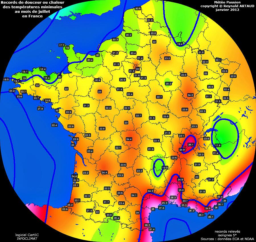 records de douceur ou chaleur des températures minimales au mois de juillet en France Reynald ARTAUD météopassion