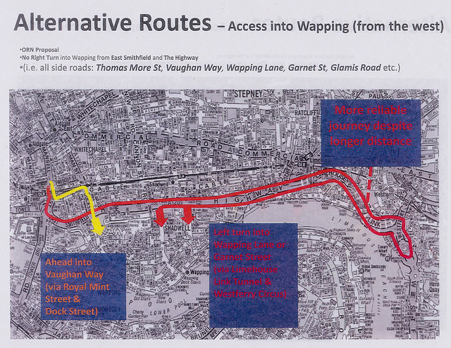 Map showing alternative road routes to access Wapping from the west during the Olympics