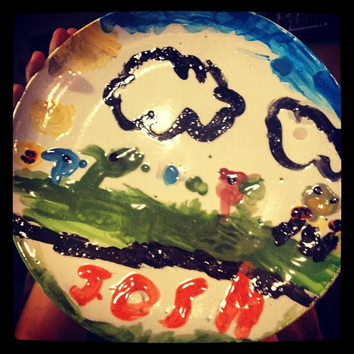 JPAD: 18: Plate. This plate makes me smile when I see it. It's Josh's plants vs zombie plate he painted earlier this year.