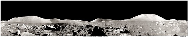 Apollo 17 Panorama with Running Astronaut