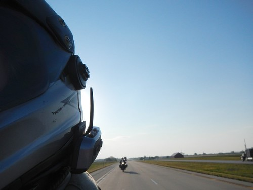 Helmet, the road, and a rider