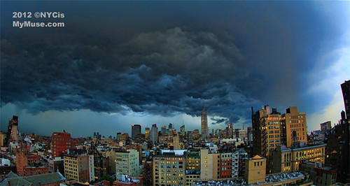 Midtown skyline view:  Huge Derecho storm cloud marching through NYC