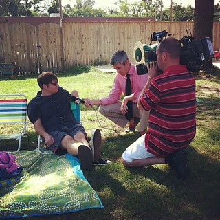 { my husband being interviewed about Michael Phelps day }