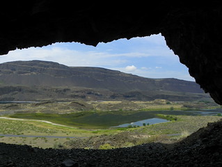 Looking out from Lake Lenore Caves