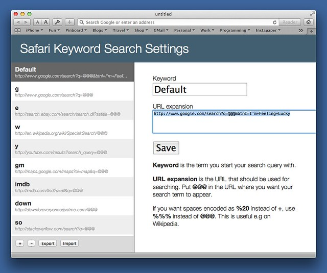 Safari Keyword Search settings