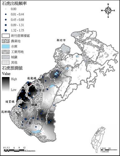 石虎出現頻率分布預測圖與殯葬園區位置。(圖片來源:陳美汀提供)