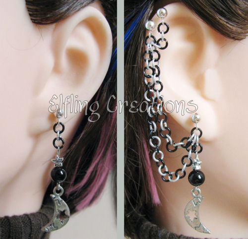 Silver and Black Moon Cartilage Chain Earrings