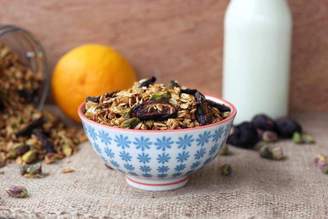Orange Spice Granola with Black Mission Figs and Pistachios - Gluten-free, Vegan + Refined Sugar-free