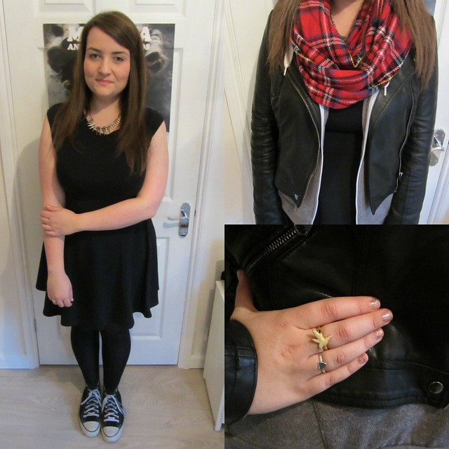 converse, tartan, uk blog, black skater dress, bikr jacket