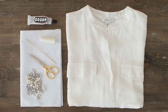 Add jewels to your white shirt the easy way www.apairandasparediy.com