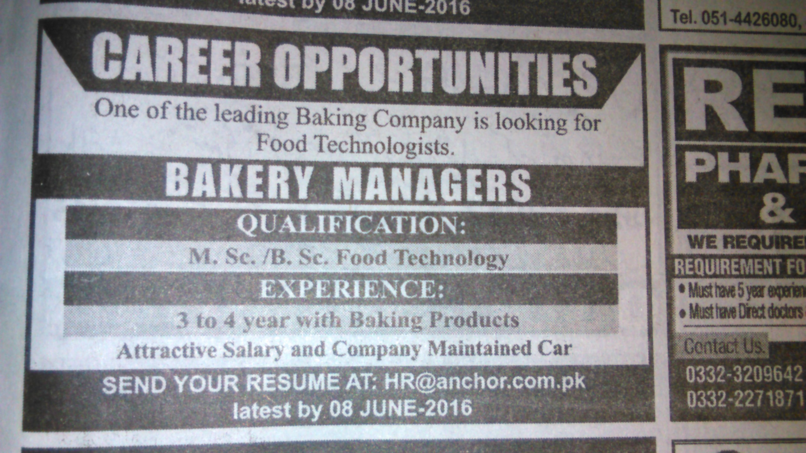Bakery Managers Required