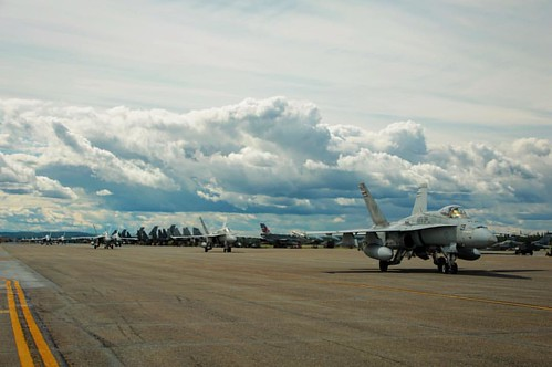 FIGHTER JET FRIDAY  #FA18C #Hornets with #Marine Fighter Attack #Squadron (VMFA) 314, stationed at @mcasmiramar3rdmaw, taxi down the runway aboard Eielson Air Force Base, #Alaska, during their (@Marines photo by Lance Cpl. Donato Maffin/Released)