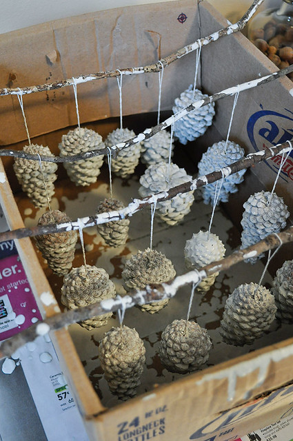 Diy painted pine cone ornaments beautiful matters for How to paint pine cones for christmas