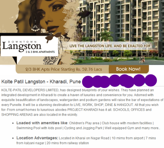 Kolte-Patil Developers' Downtown Langston 2 BHK Flats for Approx All Inclusive Property Price of Rs. 61.5 Lakhs at Kharadi Pune 411 014