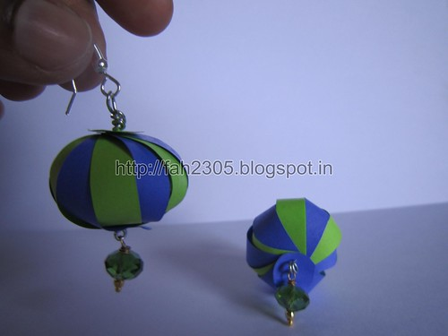 Handmade Jewelry - Paper Strips Globe  Earrings (2) by fah2305