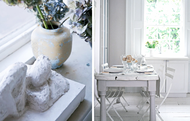 white washed-kitchen-dining-statue