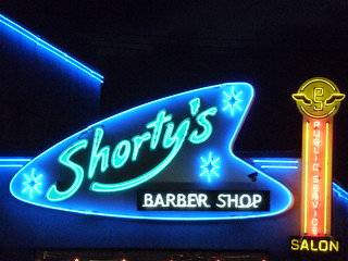 Shorty's Barber Shop neon sign in Los Angeles, California at night