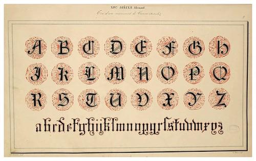 009-Alphabet-Album collection de soixante feuilles d'alphabets historiés 1843- Joseph-Balthazar Silvestre