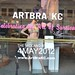 ArtBra KC in the Halls Plaza windows